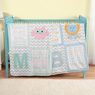 Chevron Baby Information Blanket