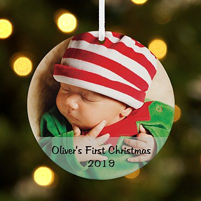 Baby Photo Message Round Ornament