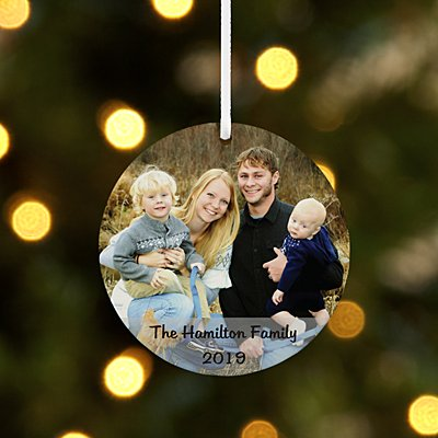 Picture Perfect Photo with Message Round Ornament