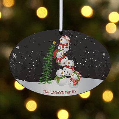 Lovable Snowman Oval Ornament