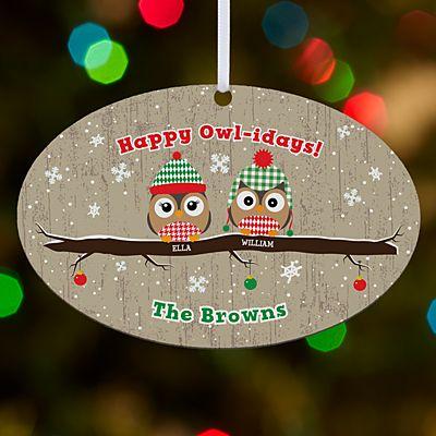 Happy Owl-idays Oval Ornament