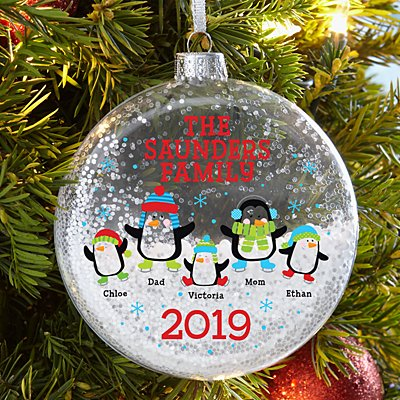 Playful Penguins Glitter Glass Ornament