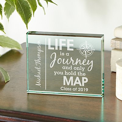 Life Is A Journey Graduation Glass Block