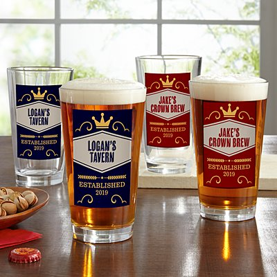 Crown Brew Pint Beer Glasses