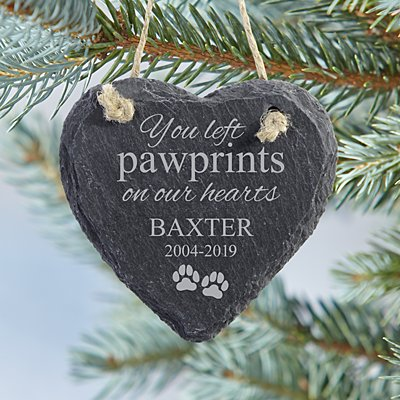 Pawprints  Heart Slate Ornament