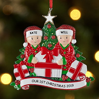 Family Opening Presents Couple Ornament