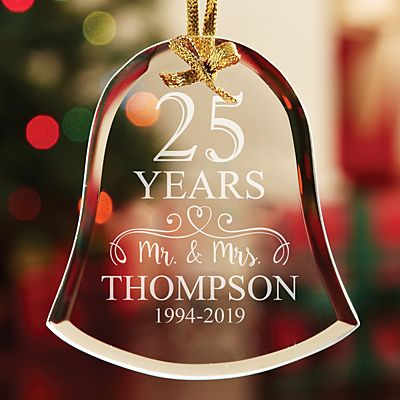 Anniversary Bell Glass Ornament