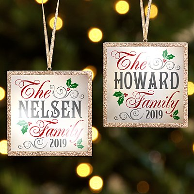 TwinkleBright® LED Christmas Holly Family Gold Bauble