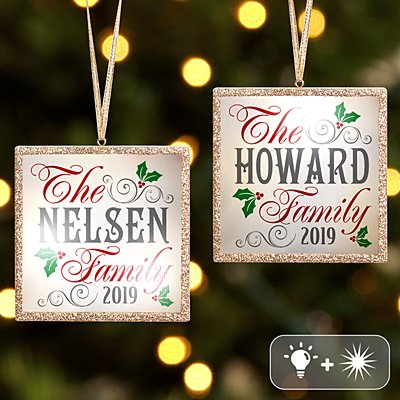 TwinkleBright® LED Christmas Holly Family Gold Ornament