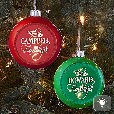 Classic Holly Glitter Globe Lighted  Ornament