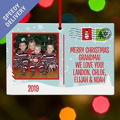 Christmas Greetings Photo Postcard Rectangle Bauble