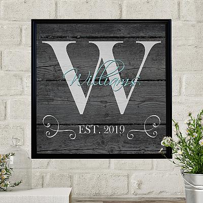 Family Initial & Name Canvas