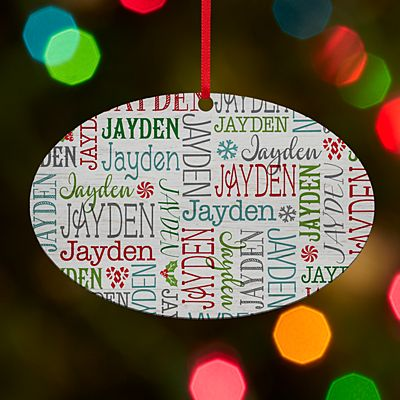 Holly Jolly Name Oval Ornament