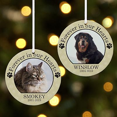 Pet Memorial Photo Round Bauble