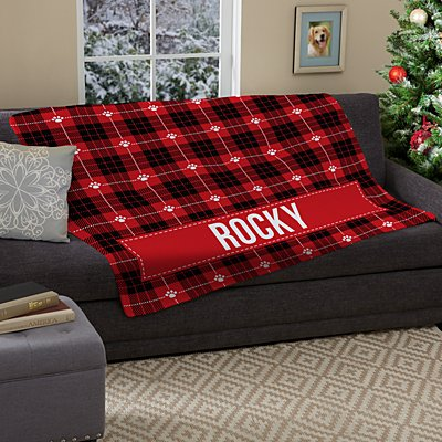 Christmas Plaid Plush Pet Blanket