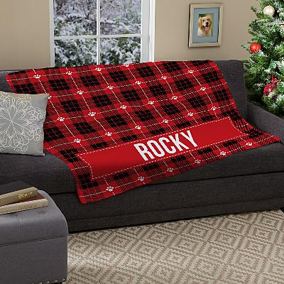 Christmas Plaid Plush Pet Blanket