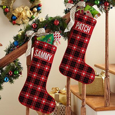 Christmas Plaid Pet Stocking