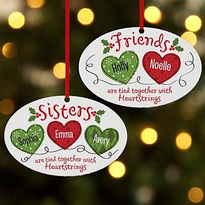 Christmas Sisters & Friends Heartstrings Oval Bauble