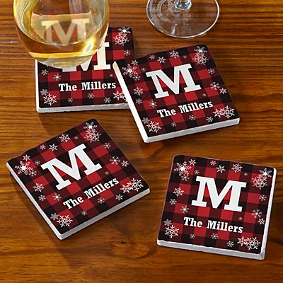 Cozy Christmas Marble Coasters