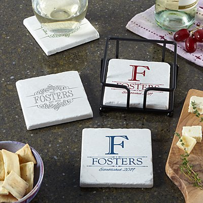 Decorative Name Marble Coasters