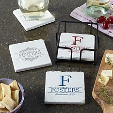 Decorative Name Marble Coasters