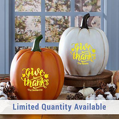 Light-Up Give Thanks Pumpkin
