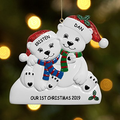 Playful Polar Bear Family Couple Ornament