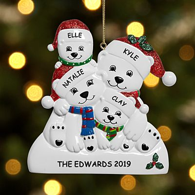 Playful Polar Bear Family Ornament
