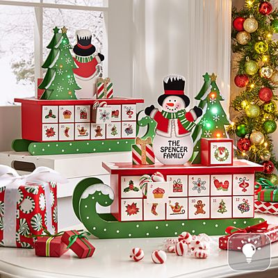 Jolly Snowman Lighted Advent Calendar