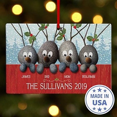 Reindeer Rocks Family Rectangle Ornament