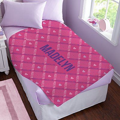 Crisscross Name Plush Blanket
