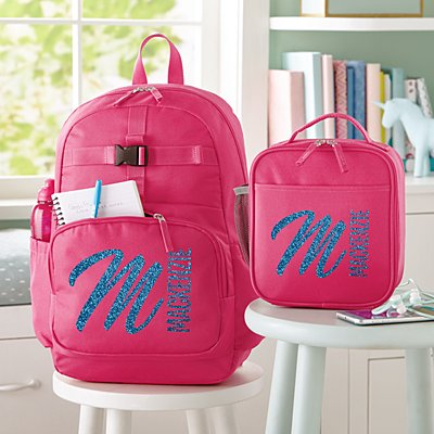 Glitter Name & Initial  Pink Backpack Collection