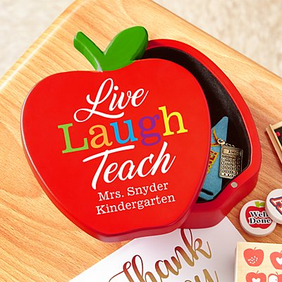 Live, Laugh, Teach Wooden Apple Keepsake Box