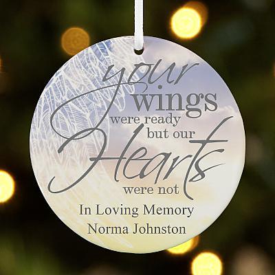 Memorial Wings Round Bauble
