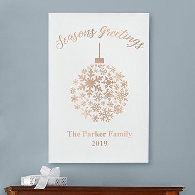 Metallic Snowflake Ornament Leather Wall Art