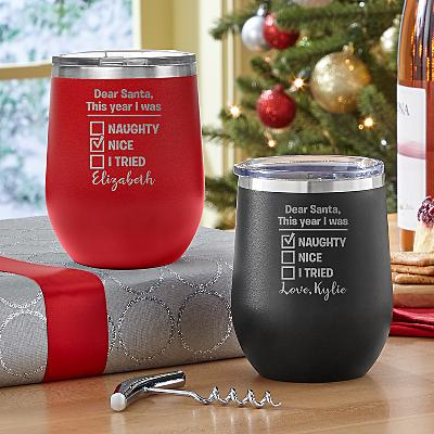 Naughty or Nice Insulated Wine Tumblers