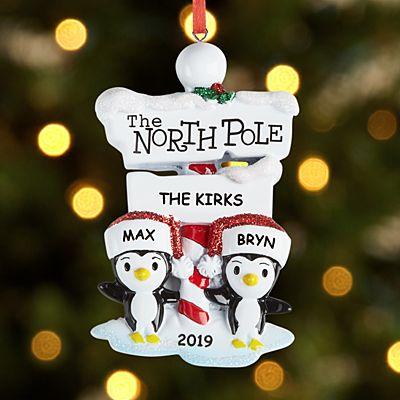 North Pole Penguin Family Couple Ornament