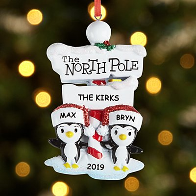 North Pole Penguin Family Couple Ornament