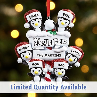 North Pole Penguin Family Ornament