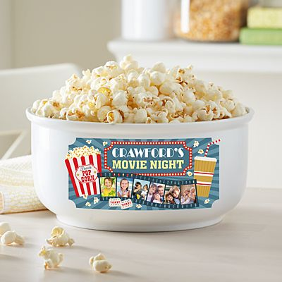 Snuggle Up Movie Time Photo Popcorn Bowl