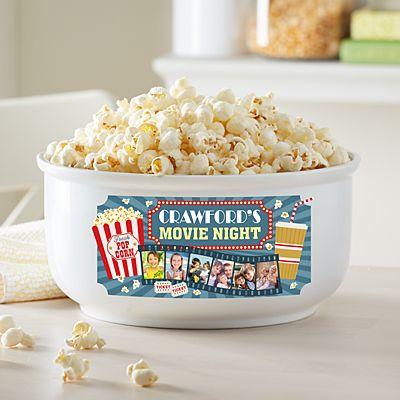 Snuggle Up Movie Time Photo Popcorn Bowl
