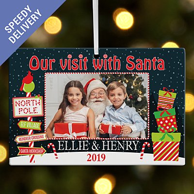 Visit with Santa Photo Rectangle Bauble - Our