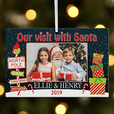 Visit with Santa Photo Rectangle Bauble