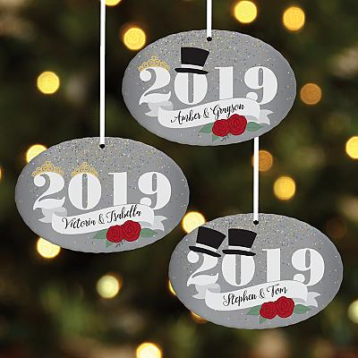 Wedding Celebration Year Oval Bauble