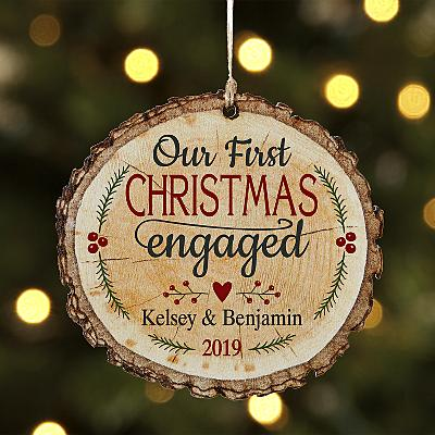 We're Engaged Rustic Wooden Bauble