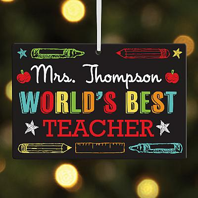 World's Best Teacher Rectangle Bauble