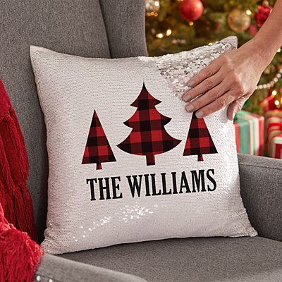 Buffalo Plaid Trees Sequin Throw Pillow