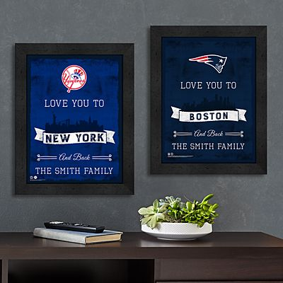 NFL/MLB Sports Love Skyline Framed Print
