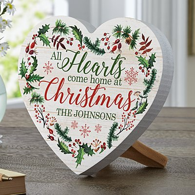 All Hearts Come Home at Christmas Mini Wooden Heart