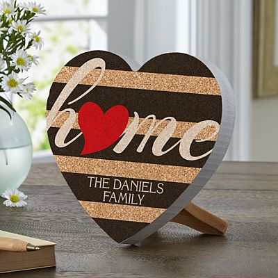 Striped Heart Home Mini Wood Heart